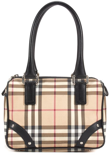 BURBERRY Beige Black Nova Check Coated Canvas Shoulder Bag