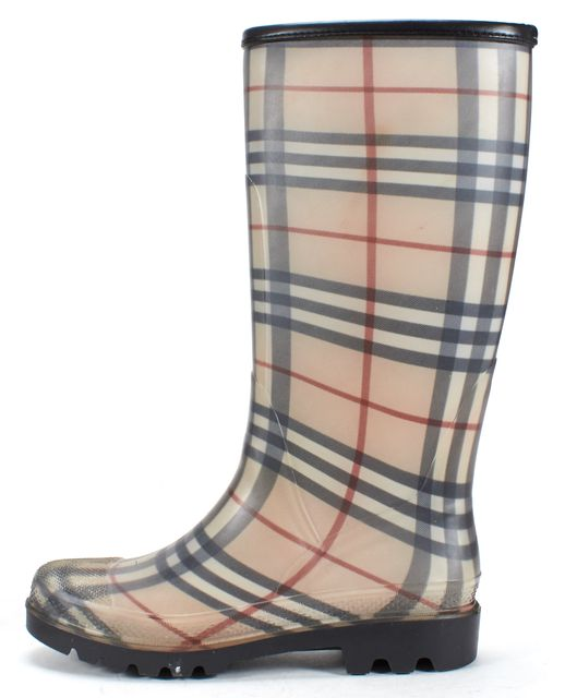 BURBERRY Beige Plaids Rainboots Tall Boots
