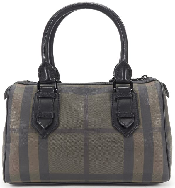 BURBERRY Black Brown Smoked Check Coated Canvas Chester Bowling Bag