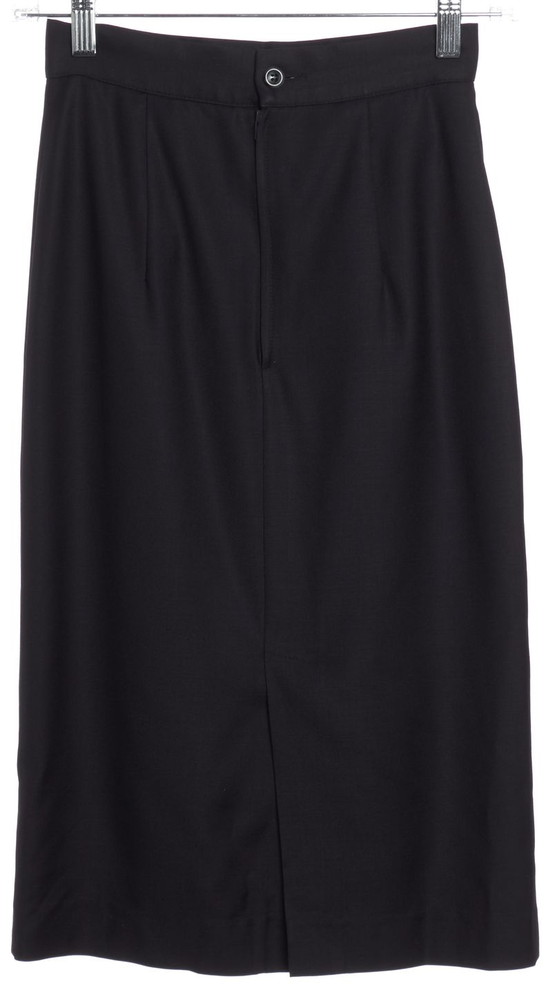BURBERRY VINTAGE Navy Blue Wool A-Line Skirt