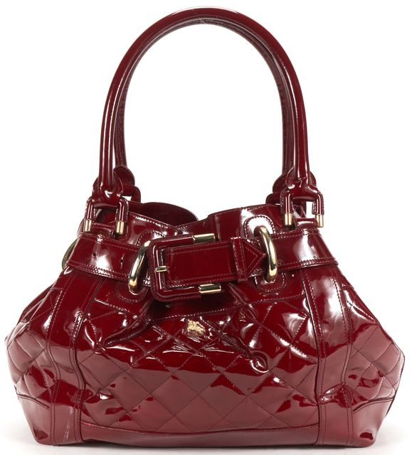 BURBERRY Red Patent Leather Shoulder Bag Tote