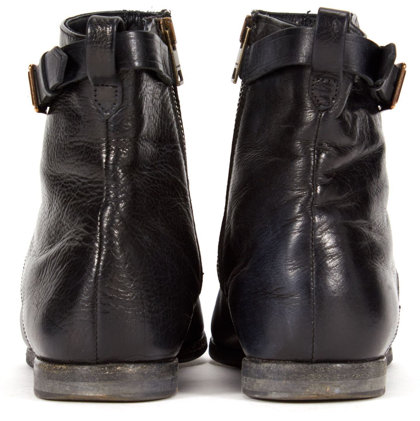 BURBERRY Black Leather Pointed Toe Ankle Boots