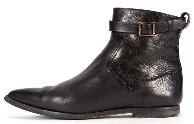 BURBERRY Black Leather Casual Pointed Toe Ankle Boots