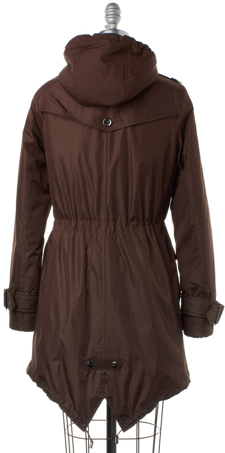 BURBERRY Bronze Brown Trench Parka Coat With Removable Liner