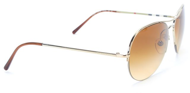 BURBERRY Gold Brown Metal Frame Gradient Lens Aviator Sunglasses