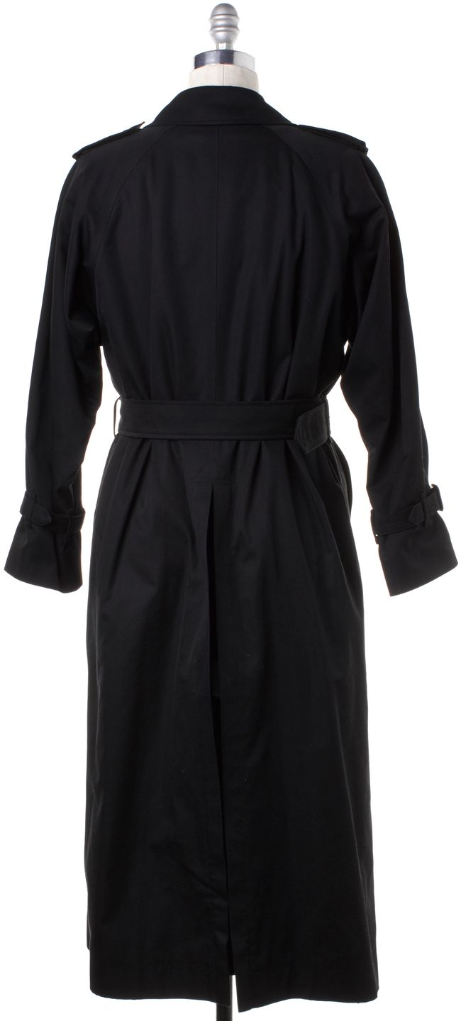 BURBERRY Vintage Black Double Breasted Belted XX-Long Trench Coat