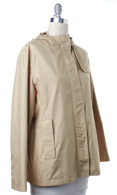 BURBERRY Beige Zip Up Camilla Hooded Raincoat Jacket