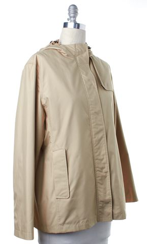 BURBERRY Beige Zip Up Camilla Hooded Raincoat Jacket