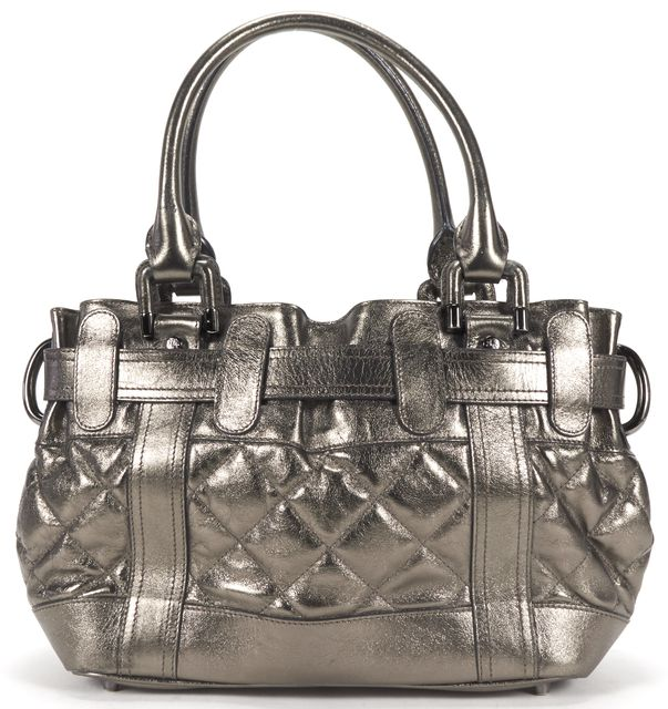 BURBERRY Metallic Gray Quilted Leather Baby Beaton Handbag