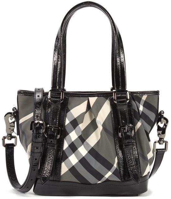 BURBERRY Black Gray Check Nylon Patent Leather Trim Satchel Shoulder Bag