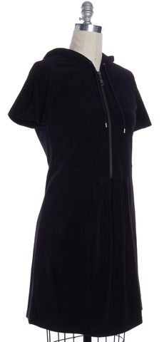 BURBERRY Black Terry Zip Front Short Sleeve Hooded Fit & Flare Dress