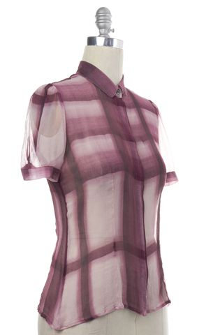 BURBERRY Purple Ombre Plaid Short Sleeve Button Down Shirt Top