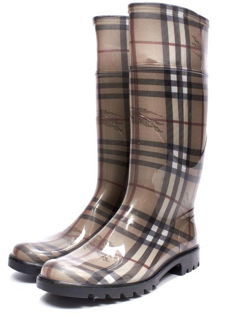 BURBERRY Beige Rubber Haymarket Check Tall Rainboots