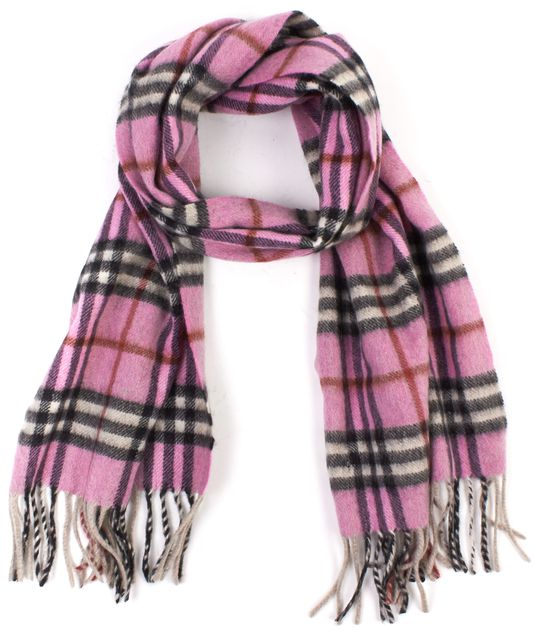 BURBERRY Pink Black Check Cashmere Scarf