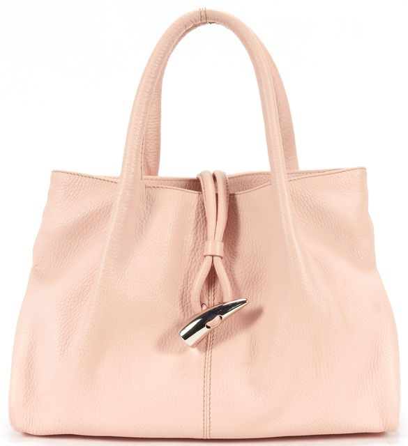 BURBERRY Baby Pink Pebbled Leather Haymarket Check Toggle Top Handle