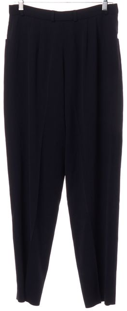 BURBERRY Navy Blue Wool High Waist Dress Pants