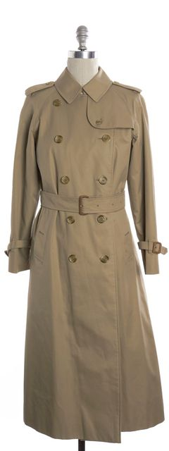 BURBERRY BURBERRYS Vintage Beige Long Double Breasted Belted Trench Outerwear