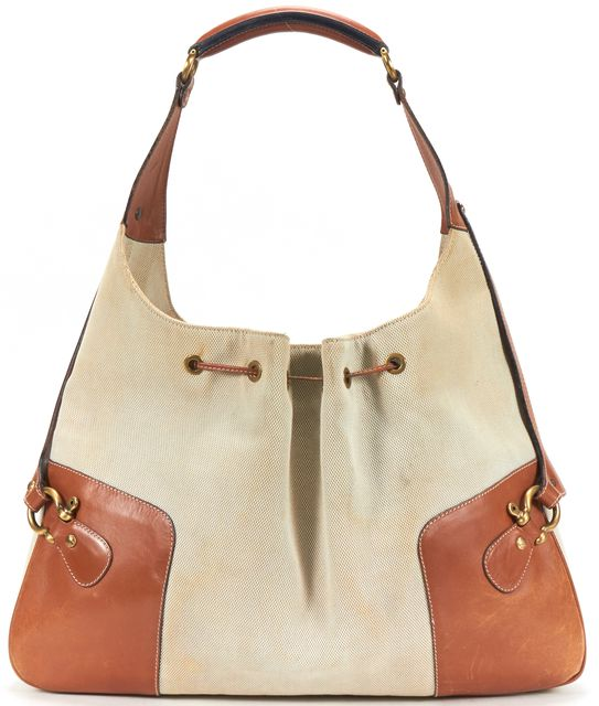 BURBERRY Brown Canvas Leather Trim Hobo Shoulder Bag