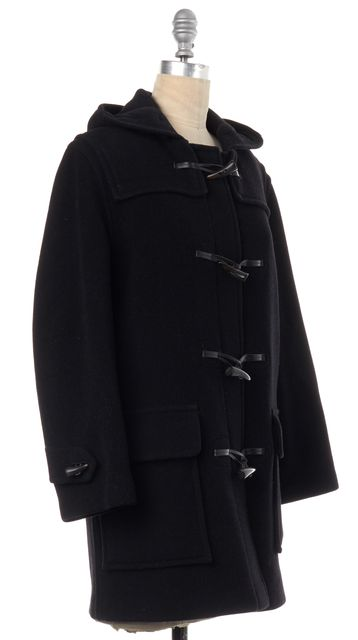 BURBERRY Black Wool Mini Duffle Coat