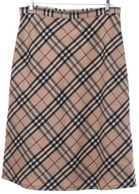 BURBERRY Beige Plaid House Check A-Line Skirt