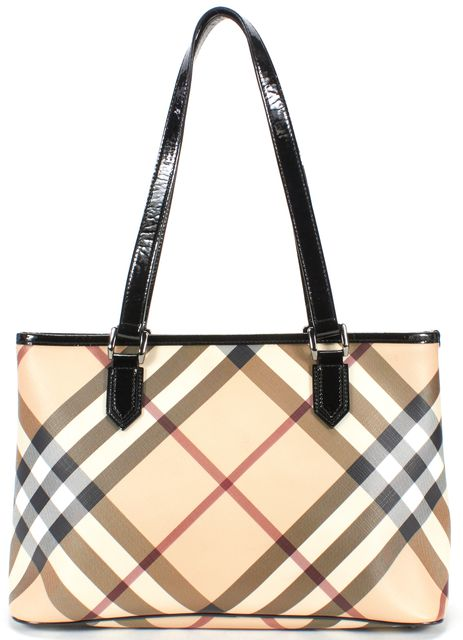 BURBERRY Beige Check Patent Leather Trim Tote Bag
