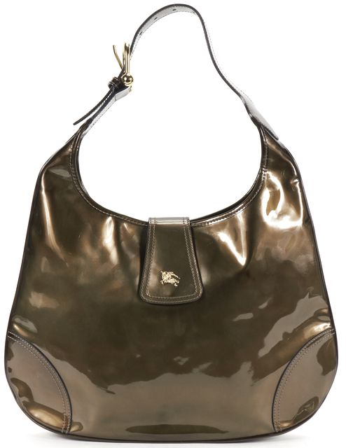 BURBERRY Green Patent Leather Hobo Shoulder Bag