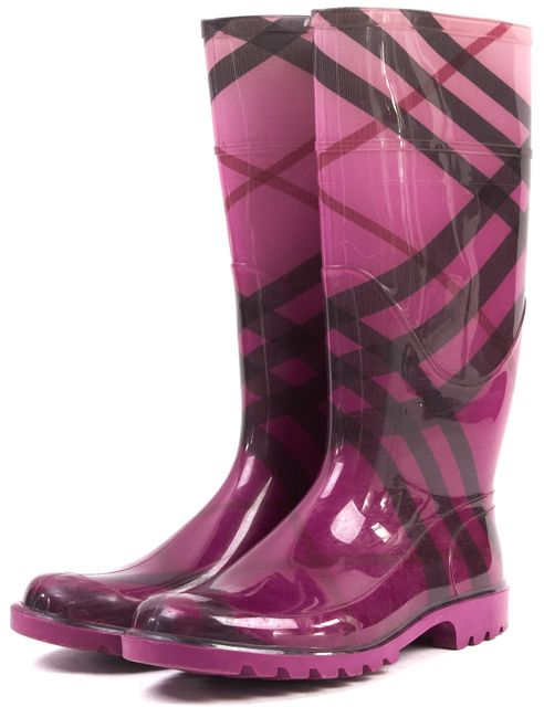 BURBERRY Pink Burberry Print Rubber Rain Boots