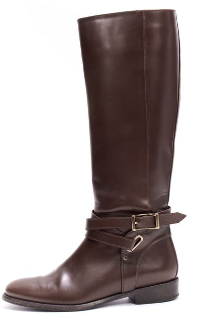 BURBERRY Brown Leather Gold Buckle Tall Riding Boots