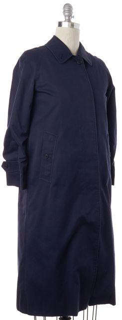 BURBERRY Navy Blue Cotton Canvas Removable Wool Check Lined Trench Coat