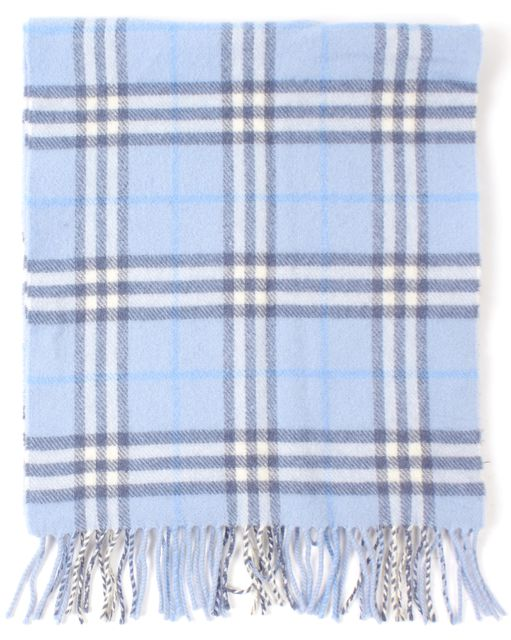 BURBERRY Blue House Check Wool Fringe Trim Scarf