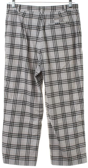 BURBERRY GOLF Gray Plaid Cropped Trousers Pants