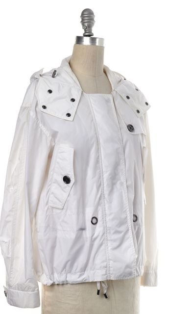 BURBERRY White Windbreaker Zip Up Jacket