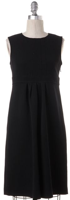 BURBERRY Black Pleated Wool Empire Waist Dress