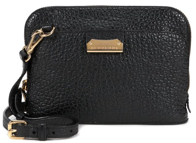 BURBERRY Black Pebbled Leather Small Crossbody Bag
