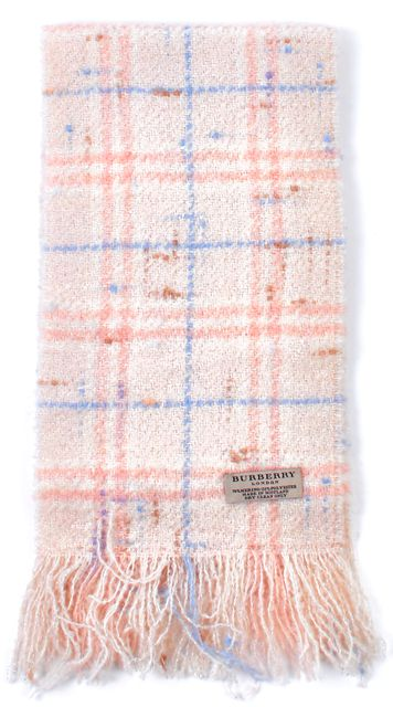 BURBERRY Ivory Pink Blue House Check Wool Knit Long Fringe Scarf