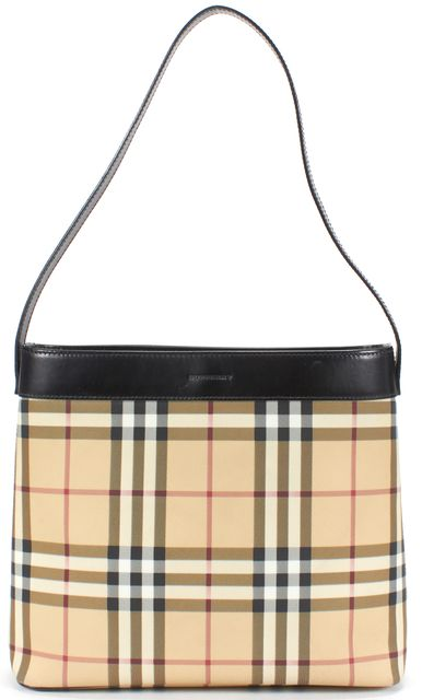 BURBERRY Beige Nova Check Coated Canvas Shoulder Bag