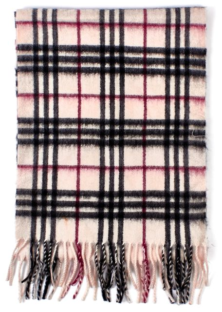 BURBERRY Beige Black Red House Check Cashmere Knit Fringe Scarf