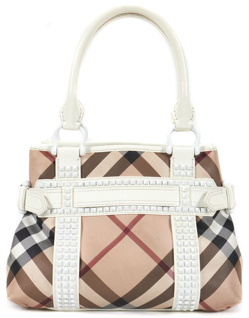 BURBERRY Beige Nova Check Canvas Patent Leather Rachel Top Handle Bag