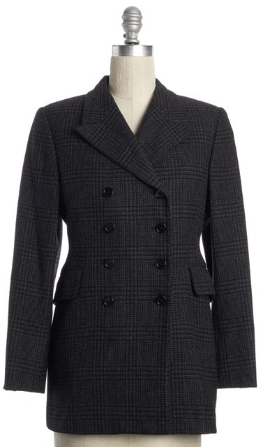 BURBERRY Classic Black Tweed Basic Double Breasted Jacket Fits Like
