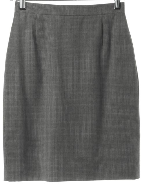 BURBERRY Gray Plaids & Checks Casual Classic Wool Pencil Skirt