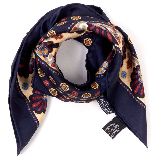 BURBERRY Navy Yellow Red Silk Floral Print Handkerchief Scarf
