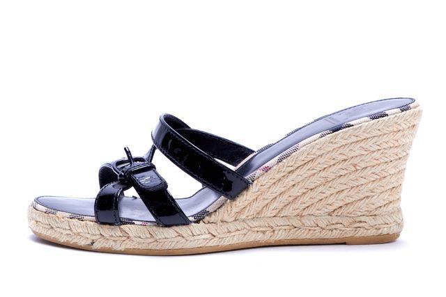 BURBERRY Black Patent Leather Slide On Espadrilles Sandal Wedges