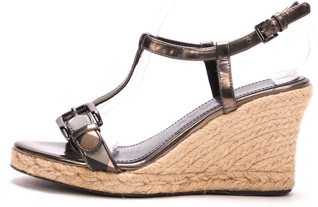 BURBERRY Metallic Gray Leather Espadrille Platforms & Wedges