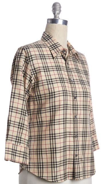 BURBERRY Ivory Black Red Check Plaid Print Button Down Blouse Top