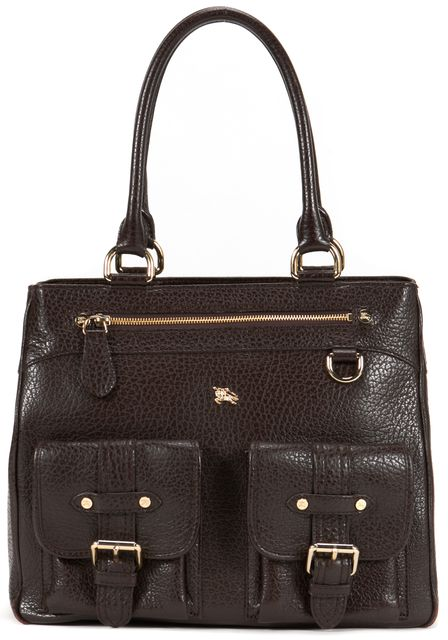 BURBERRY Brown Pebbled Leather Tote Bag
