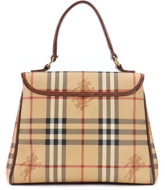 BURBERRY VINTAGE Beige Haymarket Check Coated Canvas Small Top Handle Bag