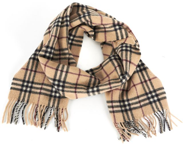 BURBERRY Beige House Check Printed Wool Fringe Trim Winter Scarf