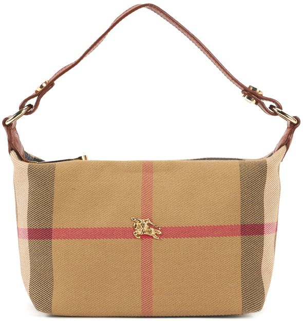 BURBERRY Brown House Check Canvas Mini Shoulder Bag