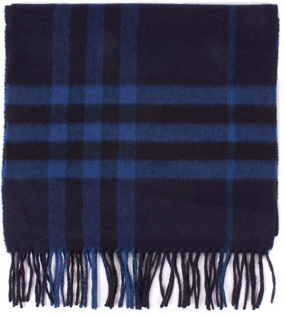 BURBERRY Blue Black Housecheck Cashmere Scarf