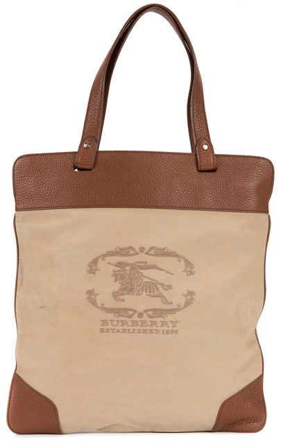 BURBERRY Brown Canvas Leather Roll-Up Tote